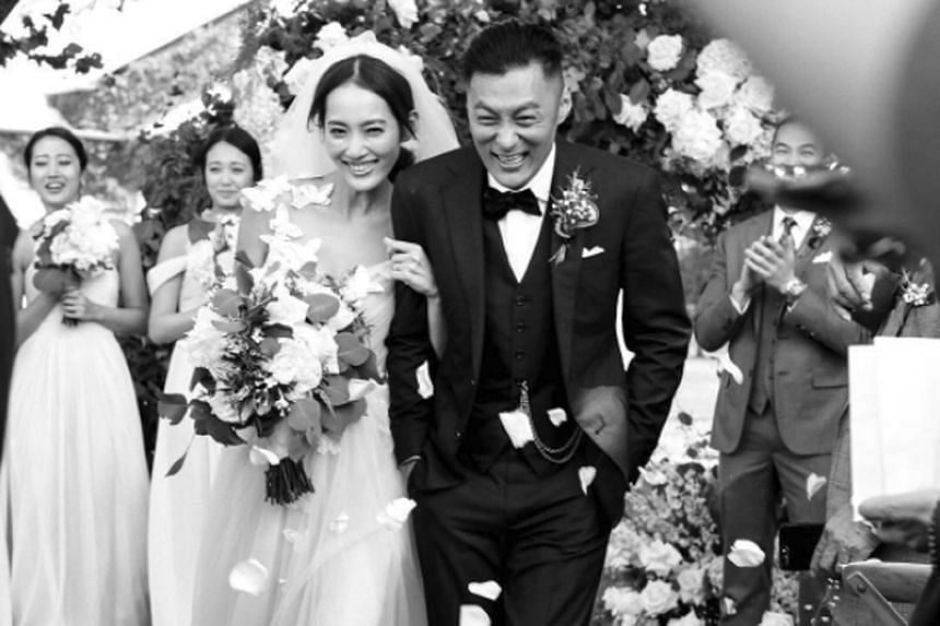 "Hong Kong actor Shawn Yue shared a wedding photo on Instagram and wrote: ""Met the right person at the right time. Thanking Heaven for arranging for the best person to appear at the best time."""