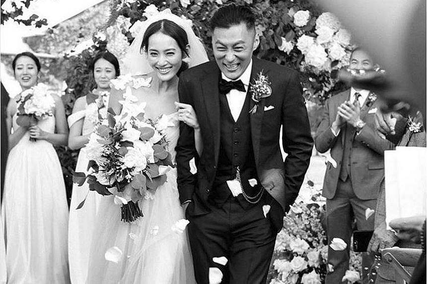 """Hong Kong actor Shawn Yue, 36, announced on Tuesday that he has married his girlfriend of one year, Taiwanese model Sarah Wang, 29. He shared a wedding photo on Instagram and wrote: """"Met the right person at the right time. Thanking Heaven for arrangi"""