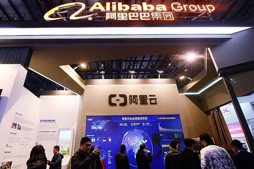 Alibaba Group's booth at the World Internet Conference in Wuzhen, Zhejiang province, in China. The annual event is the country's top public cyber-policy forum.