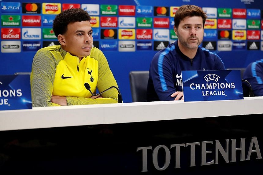Tottenham's Dele Alli and his manager Mauricio Pochettino at the pre-match conference. The Spurs midfielder will be hoping to play his way back into form against Apoel.