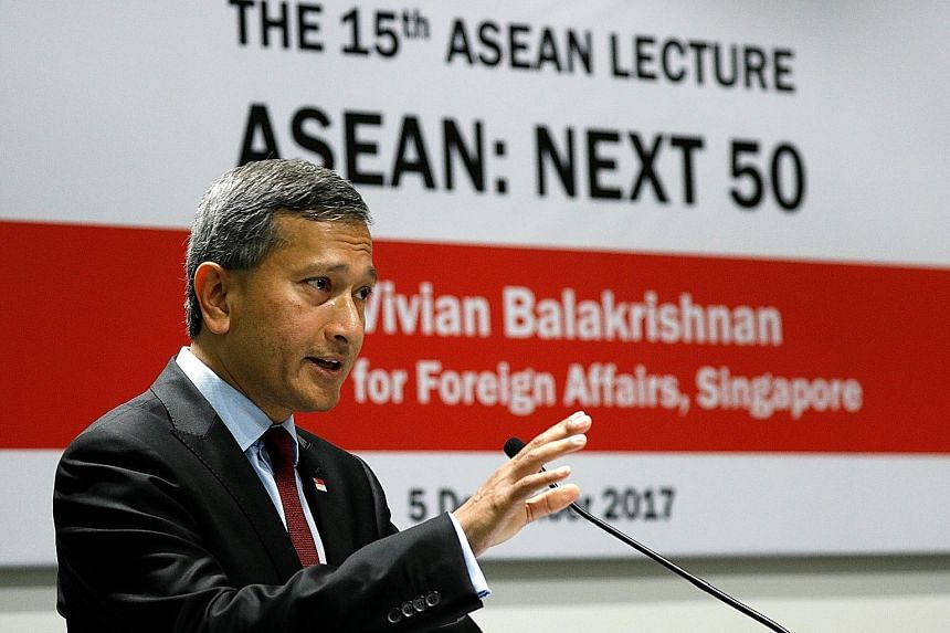 Foreign Minister Vivian Balakrishnan, who was speaking at the lecture titled Asean: Next 50 addressed the challenges faced by the grouping and set out Singapore's priorities as the chairman next year.