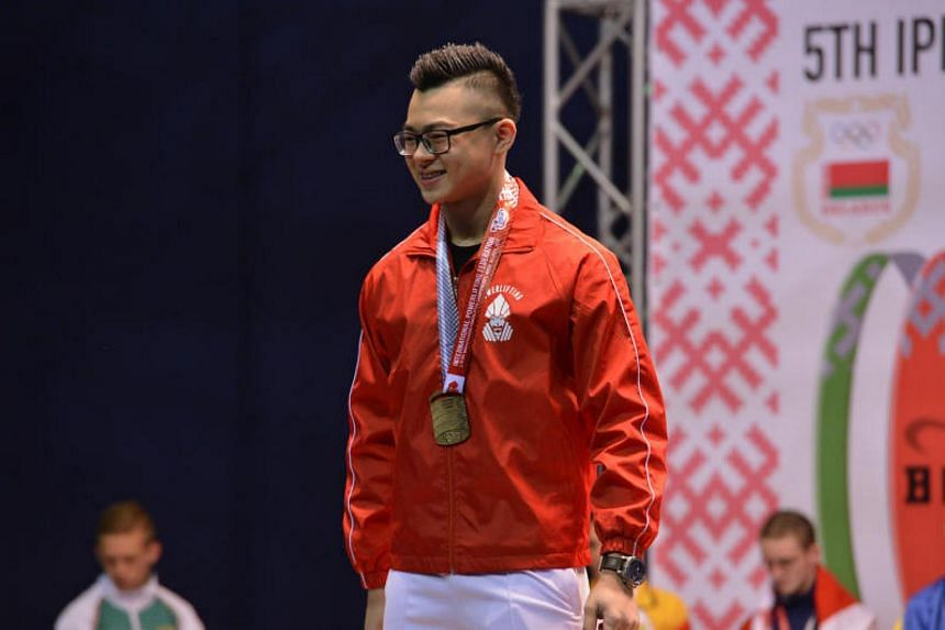 18-year-old Matthew Yap at the world championships in Belarus in June. His 588kg total in India comprises three segments as he notched another world mark in the squat by lifting 215.5kg.