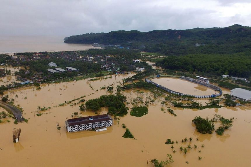 Floodwaters covering parts of Pacitan town in East Java province, on Nov 30, 2017. The death toll from Cyclone Cempaka has risen to 41, said Indonesian authorities on Dec 6, 2017.