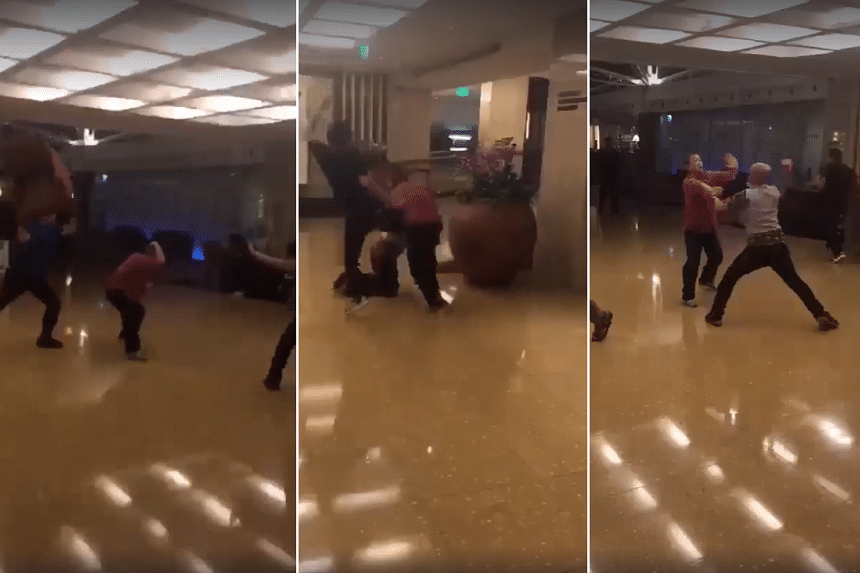 The men were seen on video throwing punches and even chairs at the hotel on Nov 26, 2017.