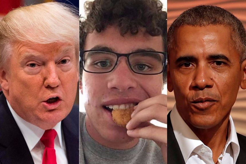 Carter Wilkerson (centre) beat Trump (left) and Obama with 3.6 million retweets in his campaign for a year's supply of chicken nuggets.