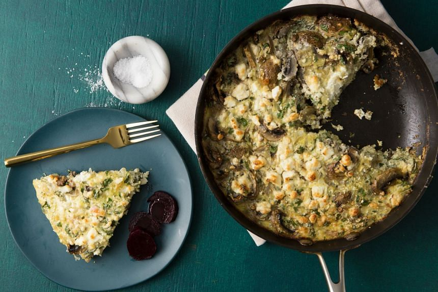 Topped with feta cheese and served with a salad, this frittata makes for nutritious meal. PHOTO: JENNIFER CHASE
