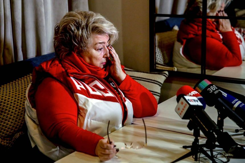 Figure skating coach Tatiana Tarasova speaking to the media on Dec 5, 2017 in Moscow.