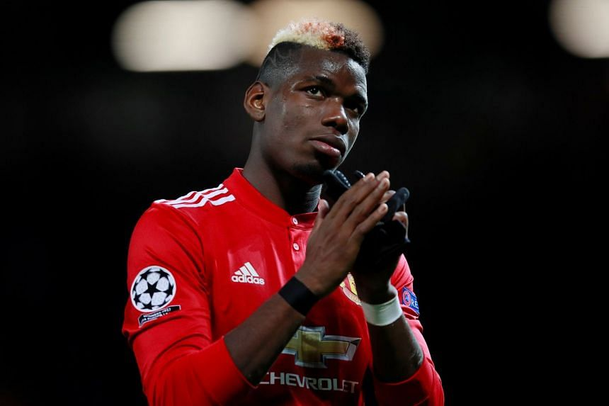 Pogba (above) is serving a three-match domestic ban after receiving a red card in United's win over Arsenal.