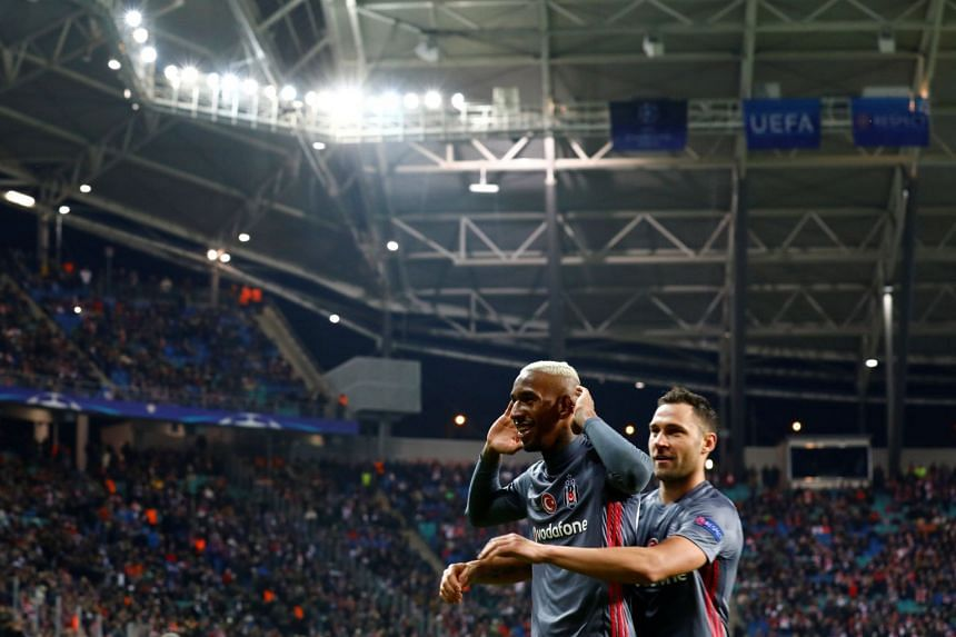 Besiktas' Anderson Talisca celebrates scoring their second goal.