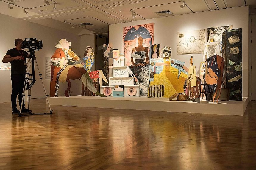 Installation A Fashionable Marriage (top), artwork Le Rodeur: Exchange (above) and pottery (left) by Lubaina Himid.