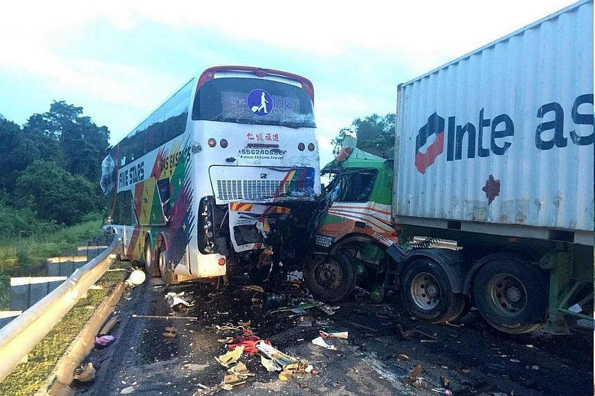 One person was killed and 13 others injured in a three-vehicle accident on Malaysia's North-South Expressway near Gopeng, Perak, yesterday morning. According to The Star newspaper, a spokesman for the Fire and Rescue Department said a double-decker b
