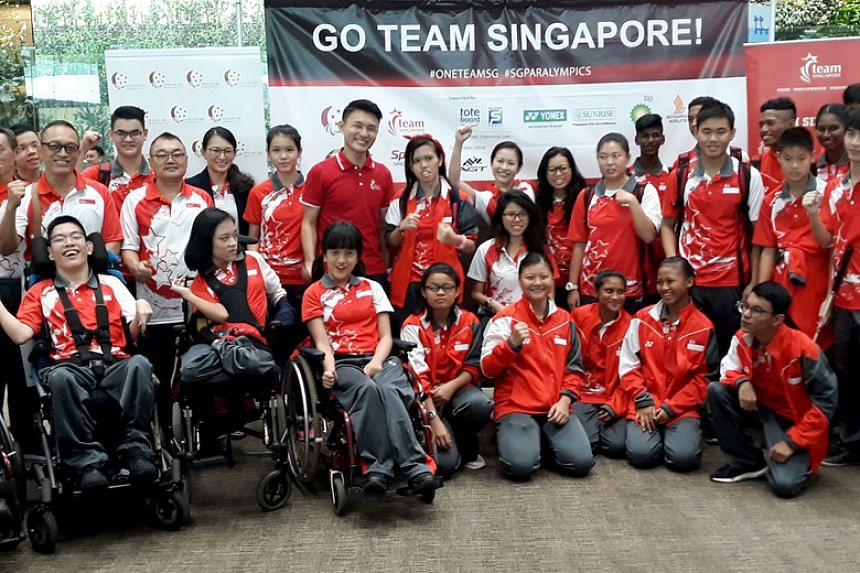 The Team Singapore Asian Youth Para Games contingent with guest of honour Baey Yam Keng, Parliamentary Secretary for Culture, Community and Youth, at their send-off ceremony at Changi Airport Terminal 3 on Dec 7, 2017.