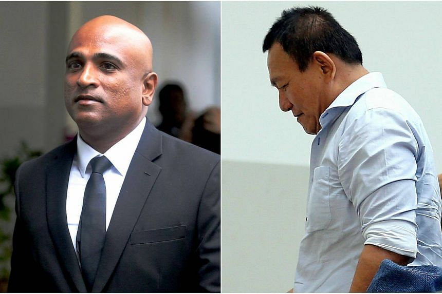 Lai Yew Thiam (right), who broke into a law firm with non-practising lawyer M. Ravi was sentenced to four weeks' jail.