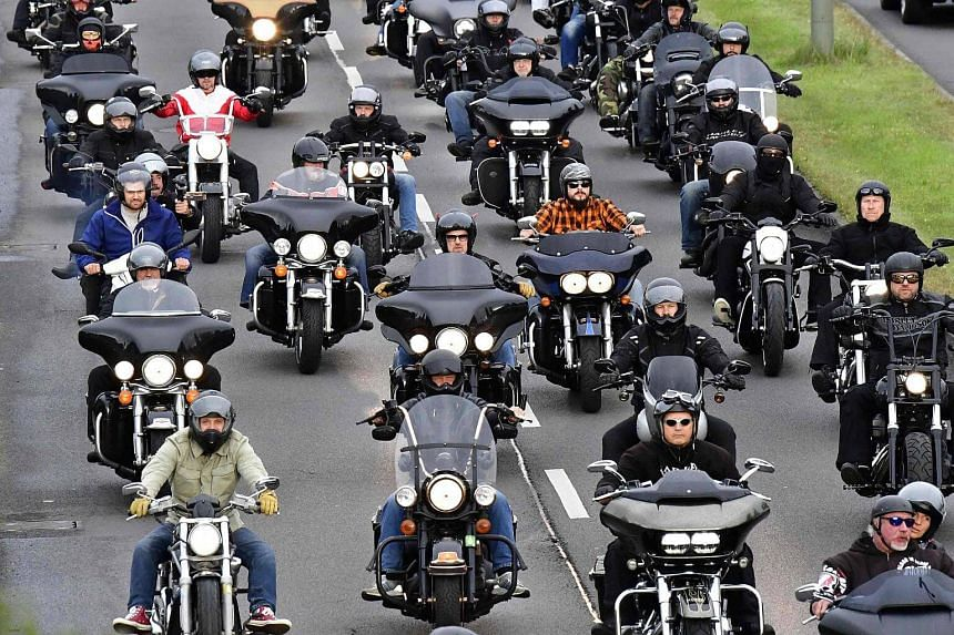 Members of the Hells Angels motorcycle club ride their motorbikes during a demonstration on Sept 9, 2017 in Berlin.