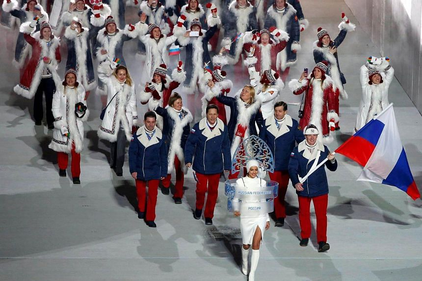 The Russian contingent making their round during the athletes' parade at the 2014 Sochi Winter Games, on Feb 7, 2014.