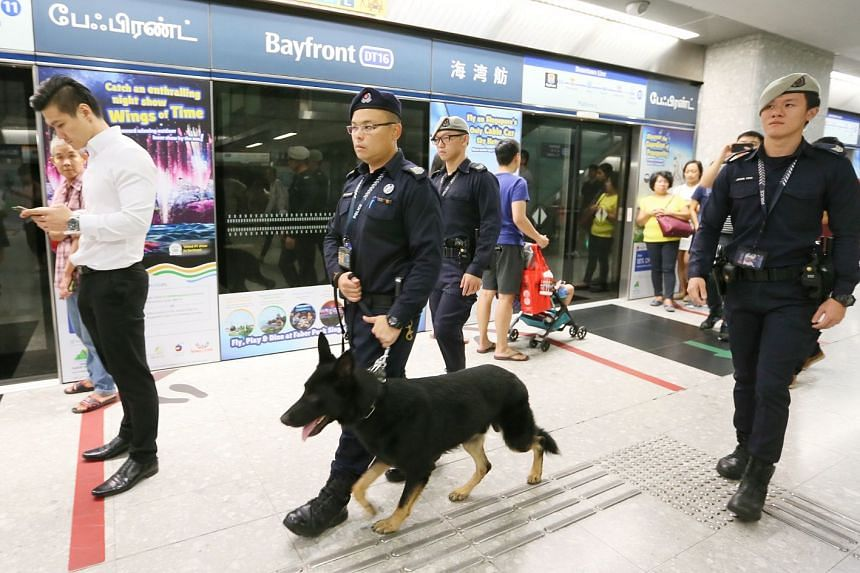 Senior Staff Sergeant Wong Wenxiong, 34, with his dog Esso, flanked by Sergeant (NS) Bryant Choo, 21, (left) and Sergeant (NS) Jemuel Feng, 22, (right) patrol MRTstations to make sure that there are no explosives as part of the police's counter-terro