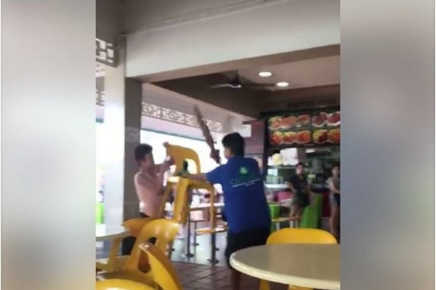 A video online showed the two women lunging at each other with an umbrella and plastic chair.