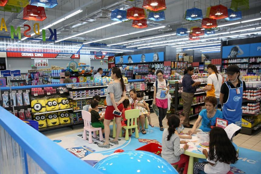 Some sections of the newly revamped NTUC Fairprice at Jurong Point have been reorganised into five zones including a Parenting Zone, which houses an interactive play area for children to keep them occupied while their parents shop.