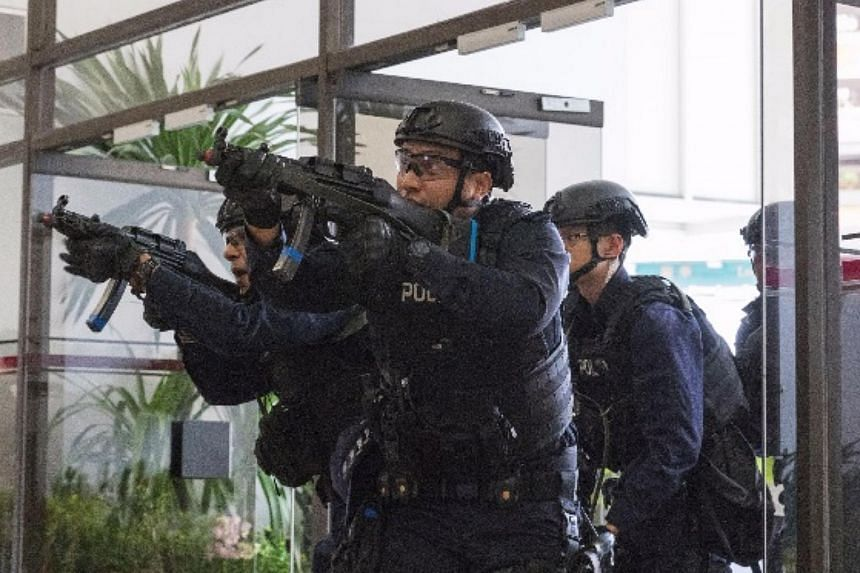 A simulated terrorist attack was held on Dec 7, 2017 to test the coordination between the police and the State Courts in emergencies.