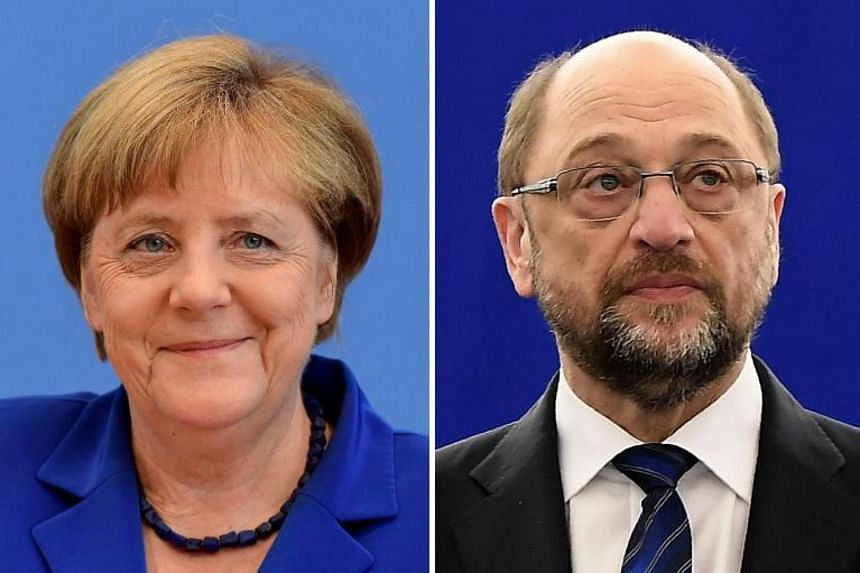 German Chancellor Angela Merkel (left) in July 28, 2016 in Berlin and the leader of Germany's social democrats (SPD) Martin Schulz in Strasbourg on Jan 16, 2017.