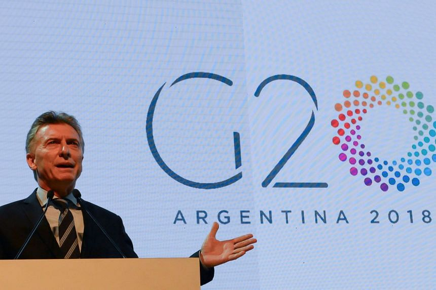 Argentinian President Mauricio Macri speaking at the ceremony to launch Argentina's one-year presidency of the G-20, in Buenos Aires on Nov 30, 2017.