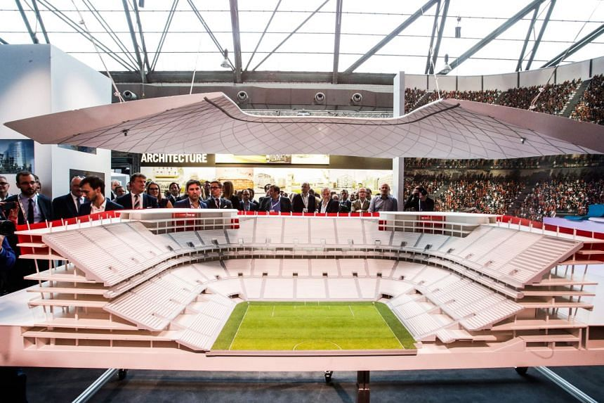 A 2016 photo shows a model of the Eurostadium in Brussels during the presentation of the project.