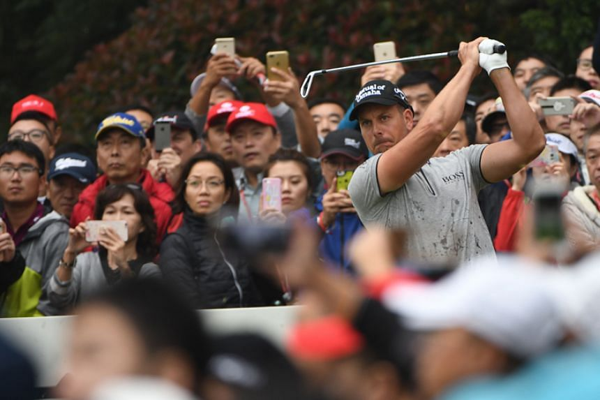 Sweden's Henrik Stenson tees off during the final round of the World Golf Championships-HSBC Champions in Shanghai on Oct 29, 2017. Golf has grown in popularity in China but that growth has been hampered by a sweeping anti-graft campaign.