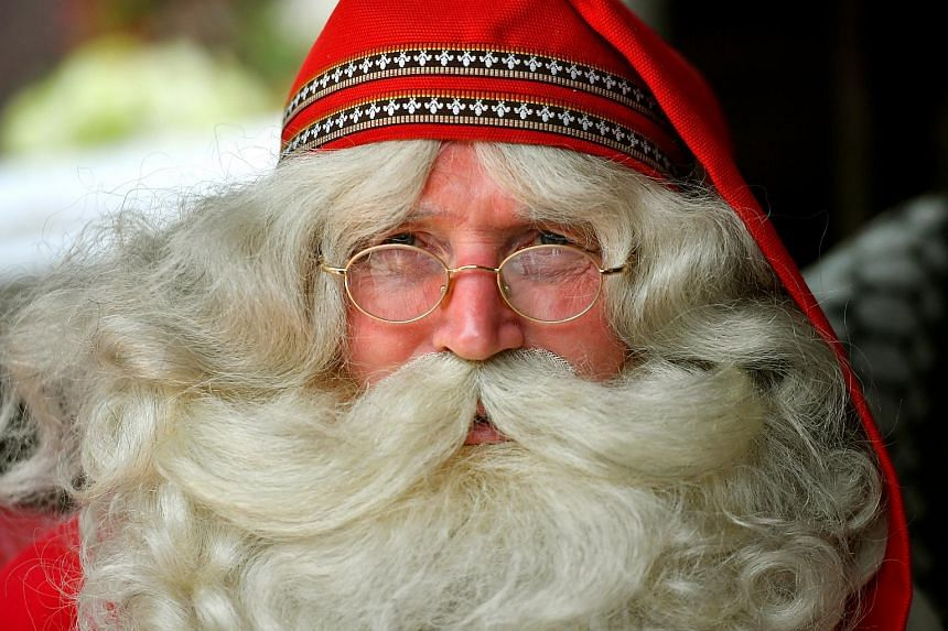 Santa Claus, who had flown in from Lapland, Finland, at Gardens by the Bay on Dec 7, 2017.