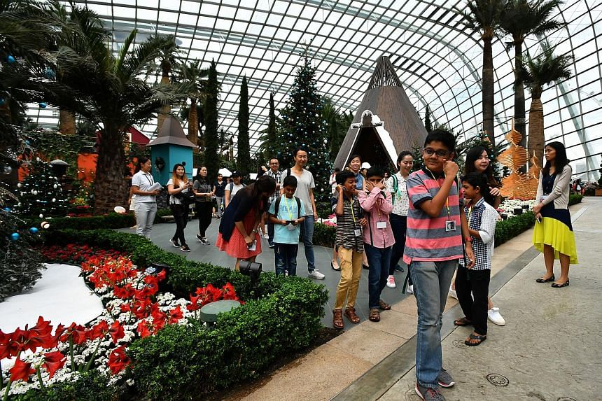 Beneficiaries from Hope Centre (Singapore) inside the Flower Dome conservatory at Gardens by the Bay on Dec 7, 2017.