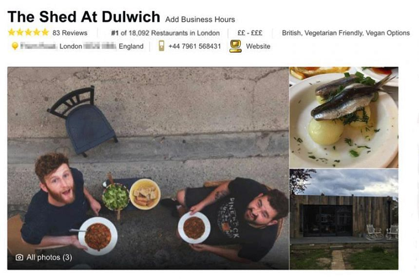 """Starting at 18,149, the worst restaurant in London, """"The Shed at Dulwich"""" worked its way up the rankings thanks to fake reviews sent from different computers to avoid TripAdvisor's defences."""