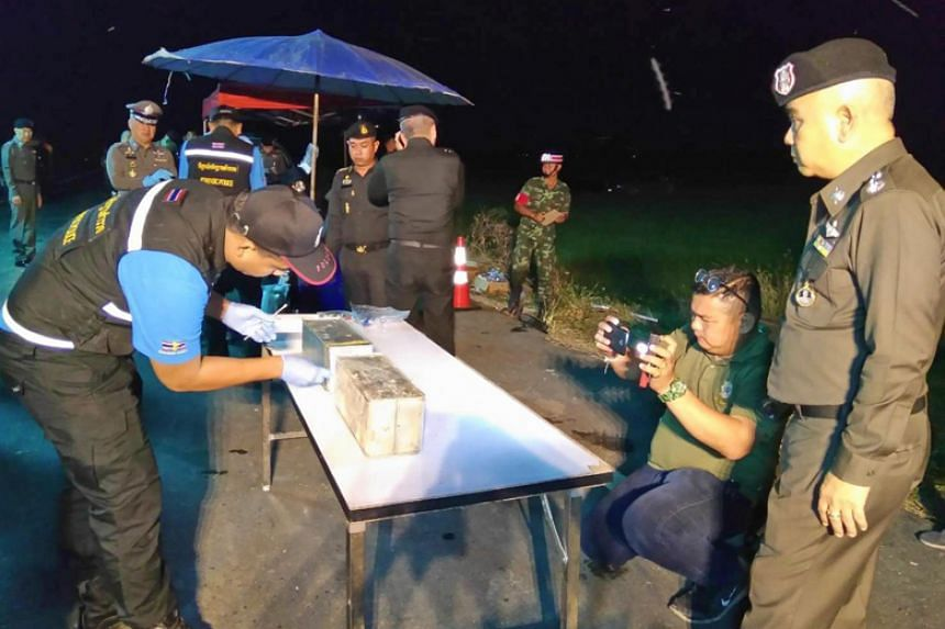 Thai police found a cache of weapons in a swamp south of Bangkok and believed the weapons were hidden during the instability that led up to a coup in 2014.