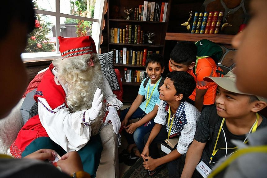 Thirty-three underprivileged children enjoyed an early yuletide treat at Gardens by the Bay yesterday morning. They met a special Santa who had flown in from Lapland, Finland - billed as the unofficial home of Santa Claus. The children from Hope Cent