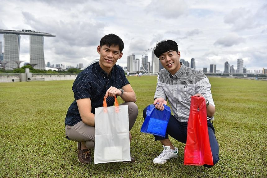 Green Boulevard founders Jacob Koh (left) and Matthew Ong are trying to convince event organisers and retailers to switch to starch bags.