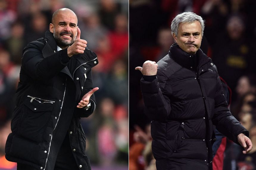 Guardiola (left) says he is just as obsessed with winning as United counterpart Mourinho (right).