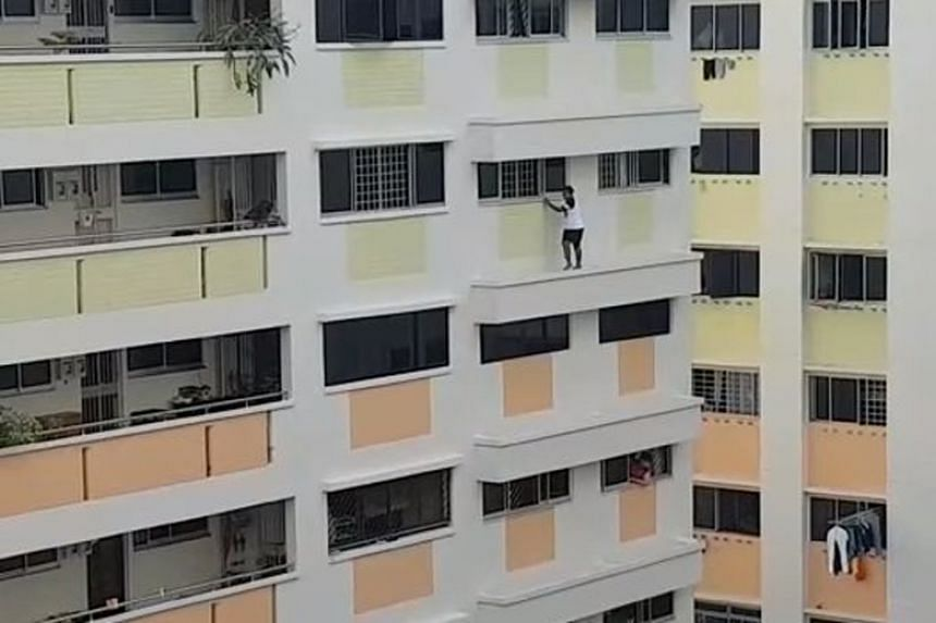 A maid who had locked herself by mistake in a room in a fifth floor flat in Bukit Panjang tried to get out of the room by first crawling out of a window.