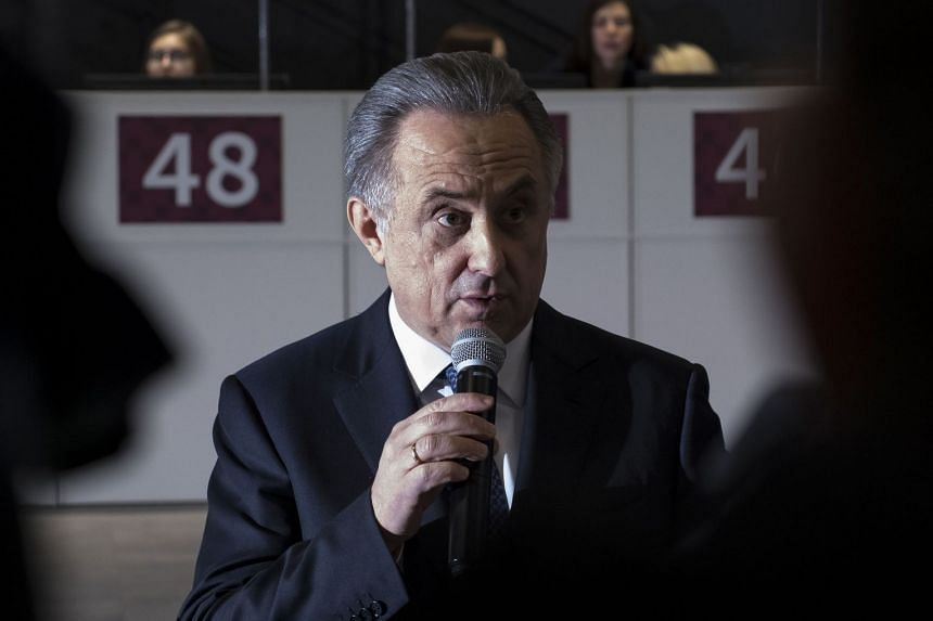 Vitaly Mutko gives a speech at a Fifa World Cup 2018 event in Moscow on Dec 7, 2017.