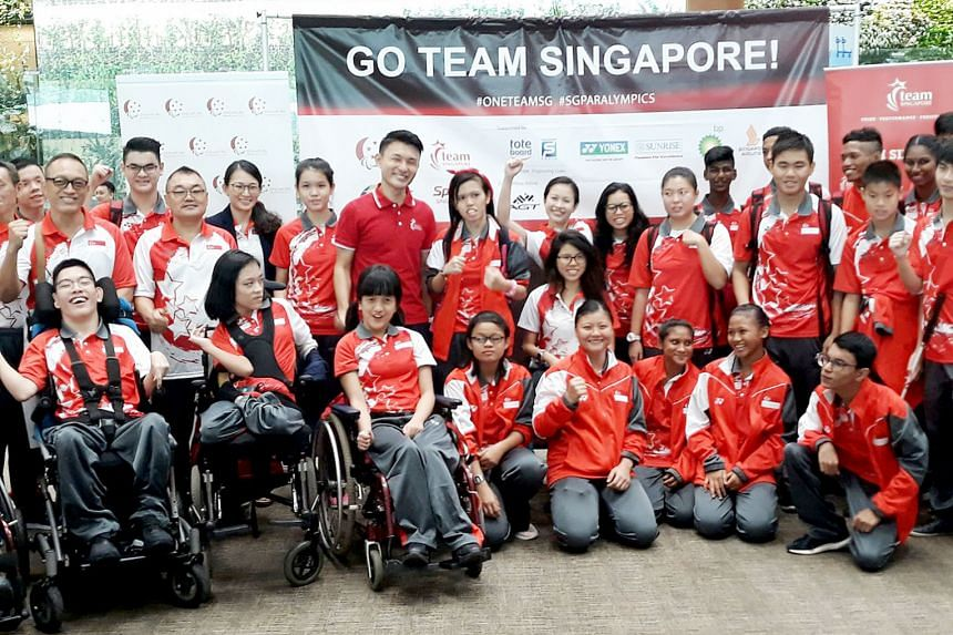 Singapore's Asian Youth Para Games contingent at Changi Airport yesterday. Chef de mission Yip Pin Xiu is in the back row, seated. Guest of honour Baey Yam Keng, Parliamentary Secretary for Culture, Community and Youth is standing in the back row, in
