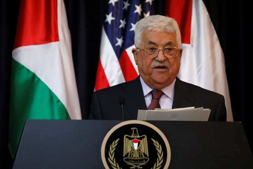 Abbas delivers remarks during a visit to the West Bank city of Bethlehem by US President Donald Trump in May 2017.