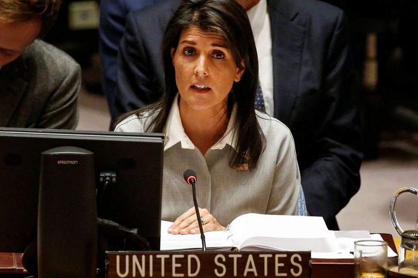 US ambassador to the UN Nikki Haley addresses the UN Security Council meeting on Dec 8, 2017.