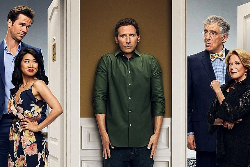 Actor Mark Feuerstein plays Josh (centre), a divorced and struggling actor who moves into an apartment right next door to his parents, Harry and Judy (Elliot Gould and Linda Lavin, both left), and his brother and sister-in-law, Andrew and Eve (David
