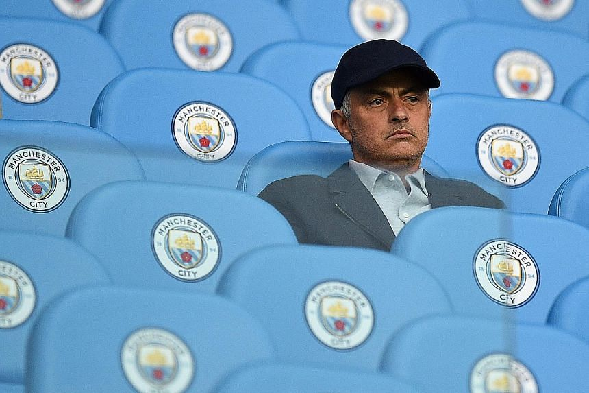 Jose Mourinho, pictured at the Etihad Stadium in August, will be looking to win against Manchester City tomorrow and reduce their eight-point lead at the top of the English Premier League ladder.