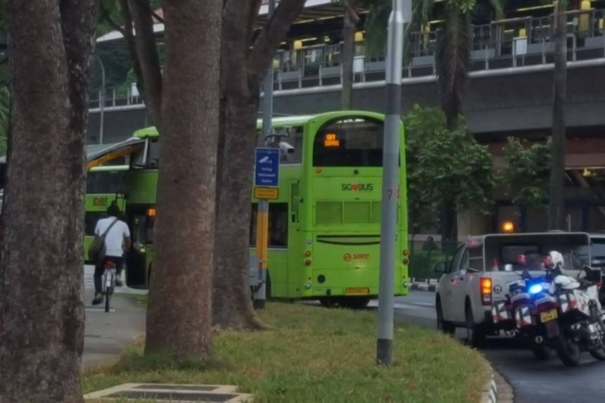 The roof of the taxi stand crashed into the top deck of the bus near Bukit Gombak MRT Station on Dec 9, 2017.