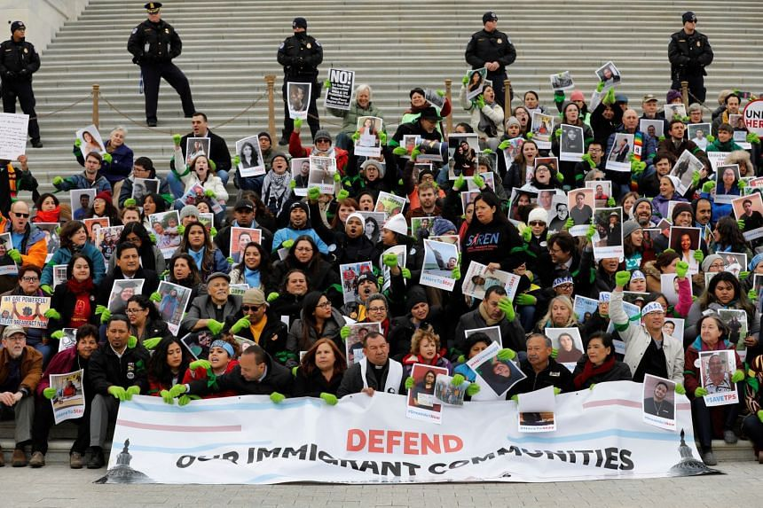 Supporters of Dreamers Act rally on Senate steps in Washington, on Dec 6.