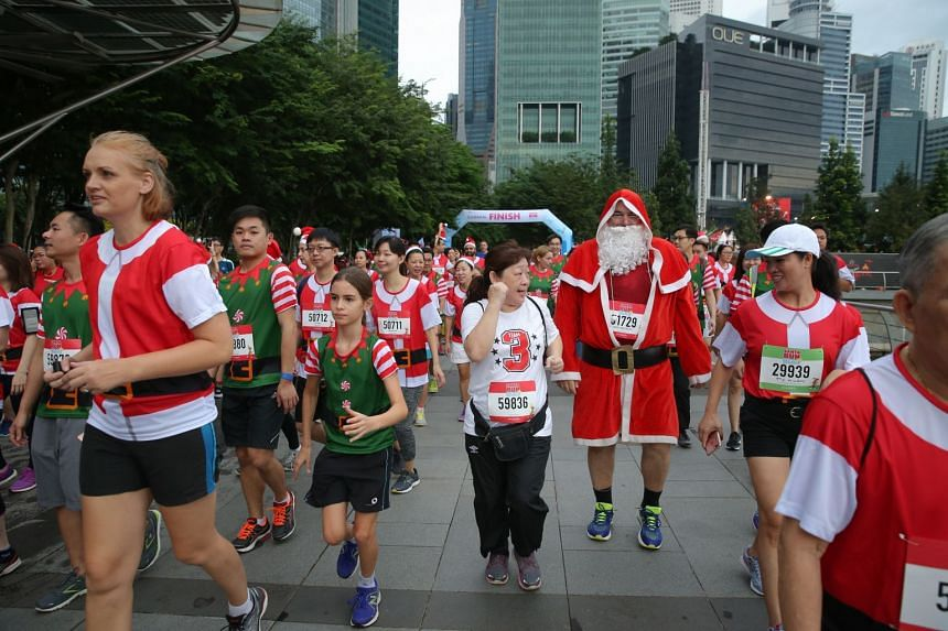 Participants at the start of the Santa Run.