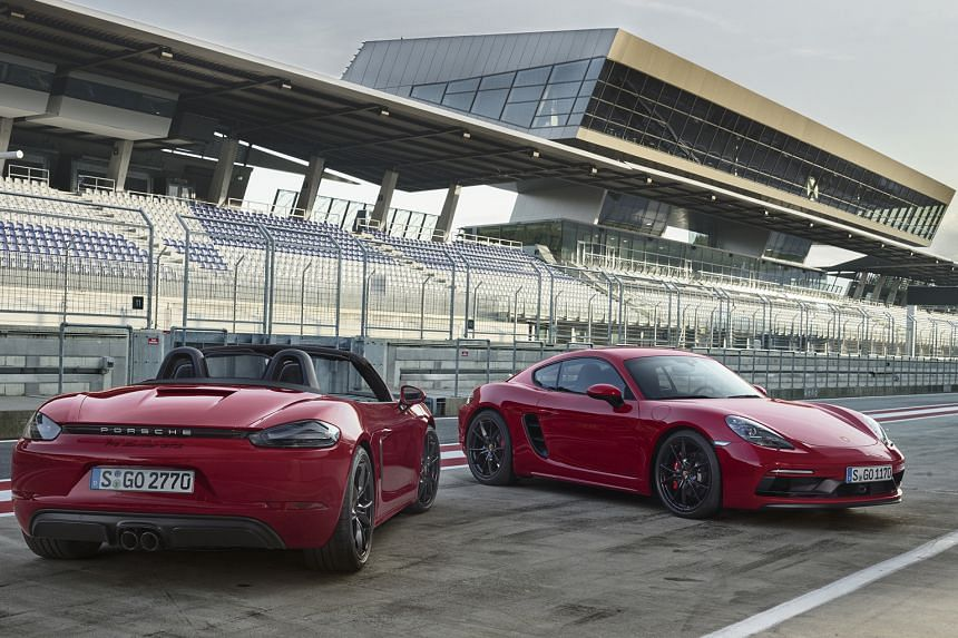 The Boxster (left) and Cayman GTS (right) from Porsche.