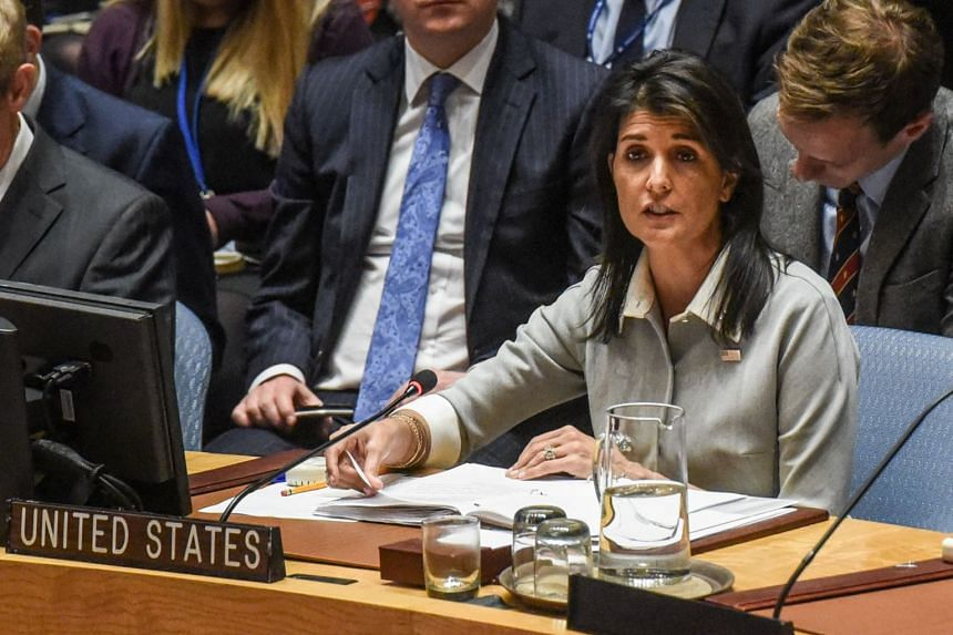 Nikki Haley delivers a speech during the meeting at the UN headquarters in New York City.