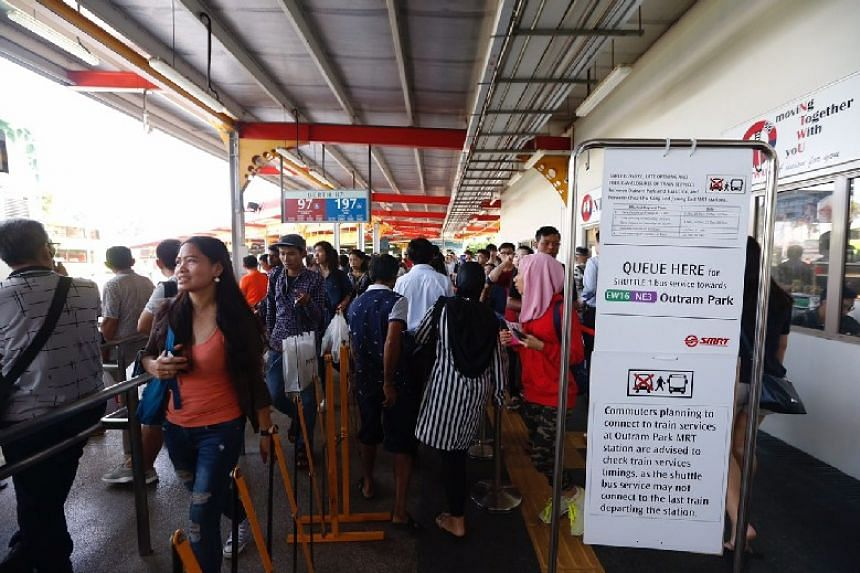 Due to works being carried out on tracks and at Jurong East station, passengers were redirected to take shuttle buses.