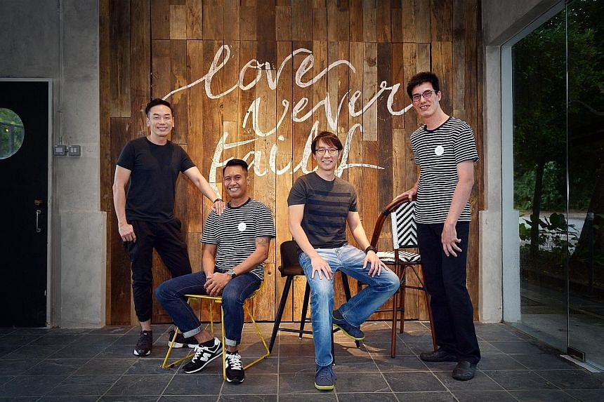 Bettr Barista Coffee Academy, founded by Ms Pamela Chng (left), trains women and youth to be baristas. Garcons, which hires ex-offenders and youth-at-risk, serves affordable French cuisine. (From far left) Chef Willin Low, consultant at Five & 2, wit