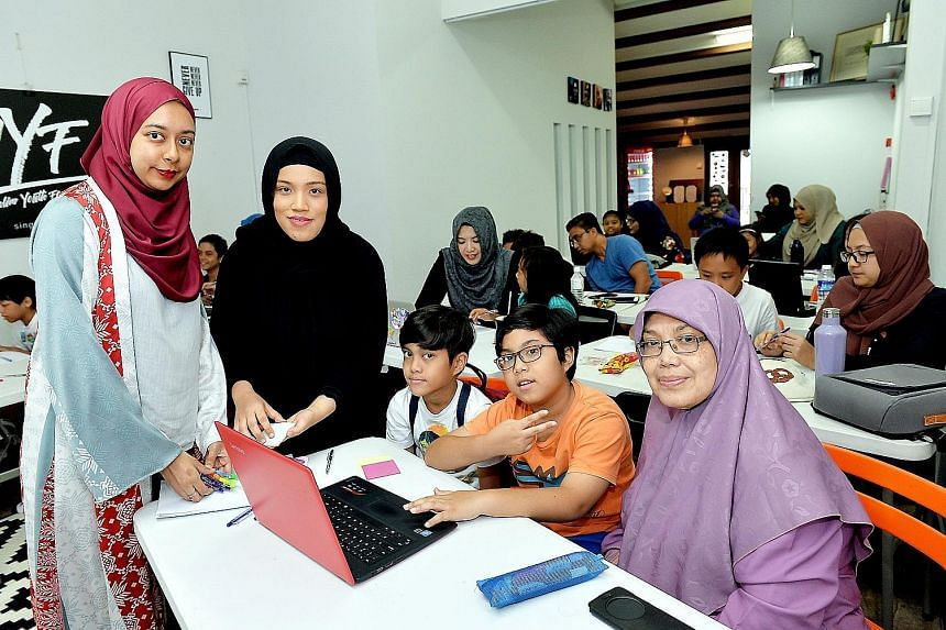 From left: Ms Nurul Jihadah Hussain, founder of The Codette Project, trainer Nurhuda Rafi Ang and course participants.