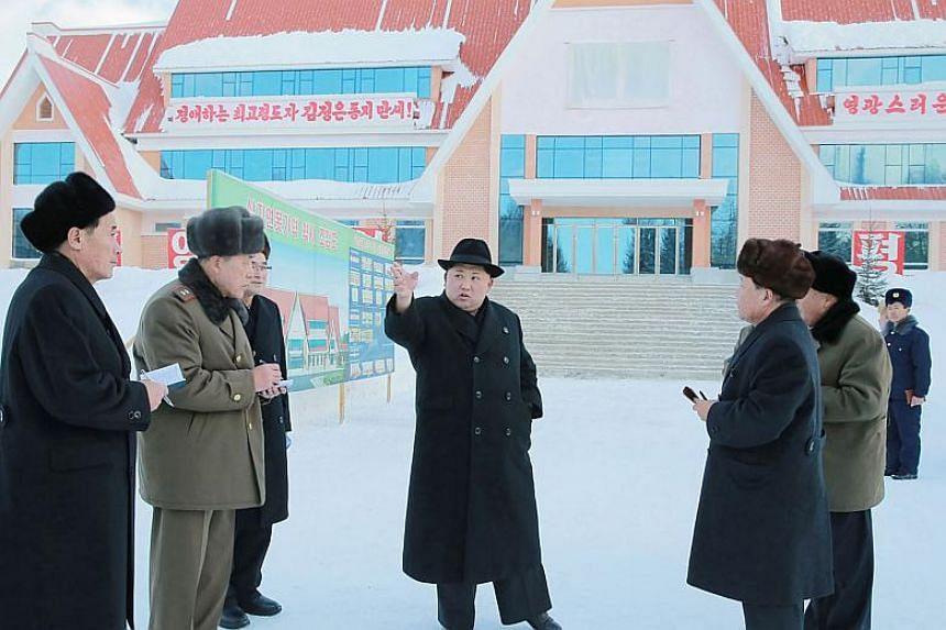North Korean leader Kim Jong-Un visiting an under-constructing new station at Samjiyon County in Ryanggang Province.